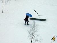 Зонтики на снегу. 5 апреля 2013 года. Гродно
